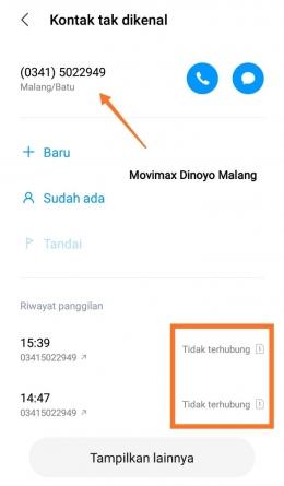Telepon Bioskop Movimax Dinoyo Malang (dokpri)