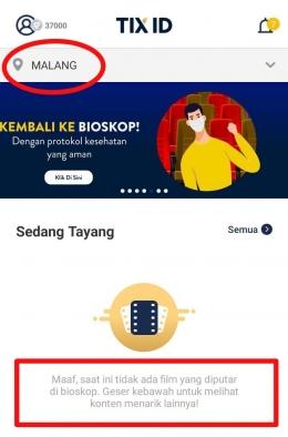 Halaman Utama Booking Film area Malang by Tix ID (dokpri)