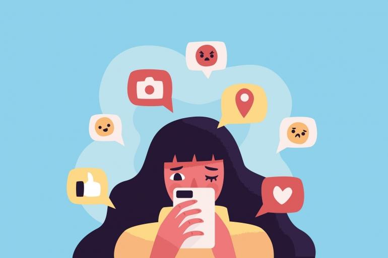 Ilustrasi sosial media dapat mengganggu kesehatan mental. Sumber: https://id.pinterest.com/pin/697635798524884795