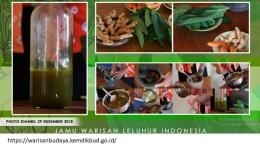 Jamu warisan leluhur Indonesia (tangkapan layar dari warisanbudaya.kemdikbud.go.id)