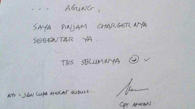 Tulisan Tangan Capt Afwan Rahimahullah (viva.co.id)