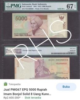 Uang Rp5.000 dengan nomor solid 888888 yang sudah disertifikasi (Foto: tangkapan layar dari ecommerce)