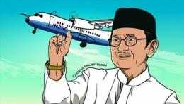 BJ Habibie Dengan Mimpinya Membangun Pesawat . Sumber Klikbabel.com