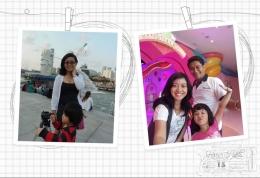 Liburan Keluarga ( Kiri : Abel memainkan tripod di Merlion Park, Singapura. Kanan : Narsis bersama di depan Hello Kitty Town, Johor)