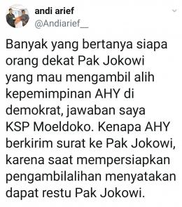 Sumber: Cuitan Andi Arief, Kader PD/tangkapan layar