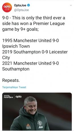 Laga dengan skor 9-0 di Liga Primer Inggris (Sumber: Twitter/@OptaJoe)
