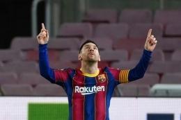 Gaya khas Messi ketika merayakan gol (Foto: AFP/ Lluis Gene)