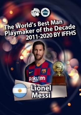 Messi, pemain pria terbaik dekade 2011--2020 (Sumber: iffhs.de)