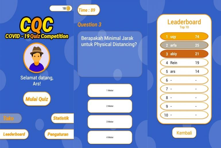 Screenshot Tampilan CQC:COVID-19 Quiz Competition (Dokumentasi Pribadi)