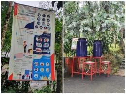 Baliho tentang prokes dan wastafel cuci tangan di dekat gerbang (Foto : dokumentasi pribadi)