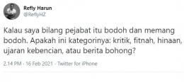 Cuitan Refly Harun. (Tangkapan layar Twitter/ReflyHZ)