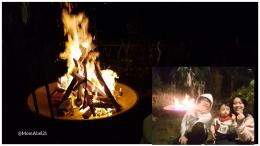 Menikmati api unggun di malam hari bersama anak-anak (Foto : koleksi pribadi)