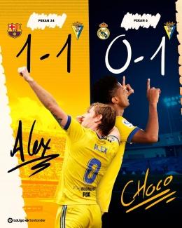 Cadiz tim promosi yang berhasil mengalahkan dua raksasa Spanyol. Foto : Facebook La Liga Santader