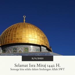 Isra Miraj 1442 H (ilustrasi pribadi via canva.com dengan backgroun dari Tom Gordon/Pixabay)