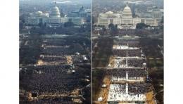 Suasana warga yang menghadiri inagurasi pelantikan Barack Obama pada 20 Januari 2009 (kiri) dan saat pelantikan Donald Trump pada 20 Januari 2017. abcnews.go.com