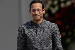 Mendikbud Nadiem Makarim sebelum pelantikan menteri-menteri Kabinet Indonesia Maju di Istana Negara, Jakarta, (23/10/2019).(KOMPAS.COM/KRISTIANTO)