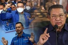 Foto kompilasi pada Jumat (5/3/2021) memperlihatkan, Moeldoko (kiri atas) tiba di lokasi Kongres Luar Biasa (KLB) Partai Demokrat di Deli Serdang, Sumatera Utara, Ketua Umum Partai Demokrat Agus Harimurti Yudhoyono (kiri bawah) menyampaikan keterangan terkait KLB Demokrat yang dinilai ilegal di Jakarta, dan Ketua Majelis Tinggi Partai Demokrat Susilo Bambang Yudhoyono menyampaikan keterangan terkait KLB Demokrat di Puri Cikeas, Bogor, Jawa Barat.(ANTARA FOTO/ENDI AHMAD-ASPRILLA )