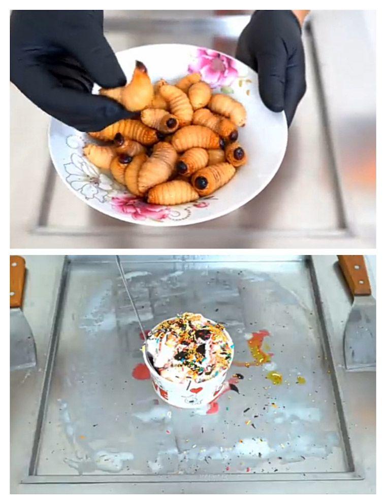 Ulat kelapa yang masih hidup (atas) Es krim gulung dari ulat kelapa (bawah)