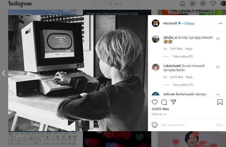 Sc : instagram Microsoft https://www.instagram.com/p/CLZ1V5HJXmO/