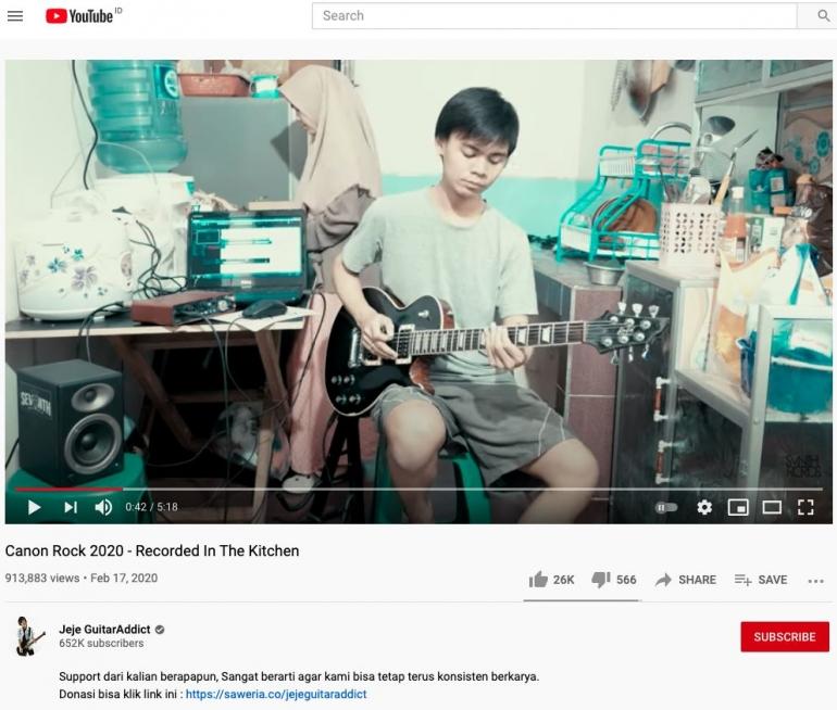 Image: Tangkapan layar channel YouTube Jeje Guitar Addict/ Dok pribadi