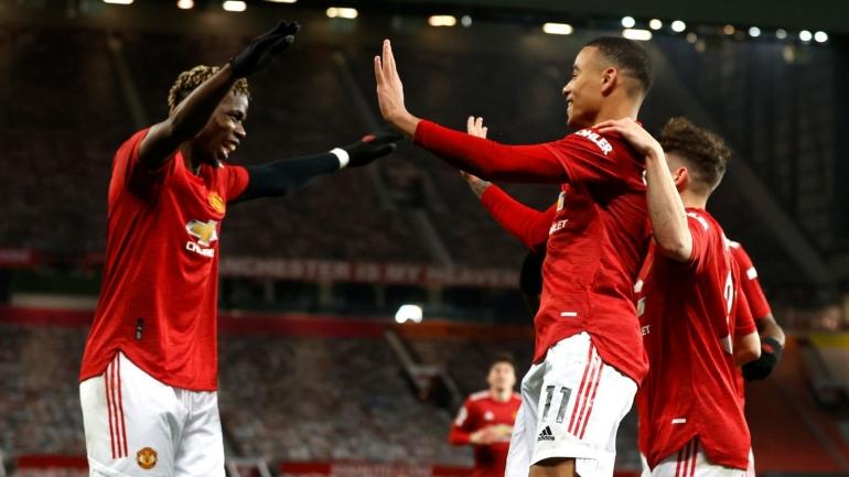 Selebrasi gol Greenwood bersama Pogba untuk kemenangan 2-1 atas Brighton (Foto Skysports)