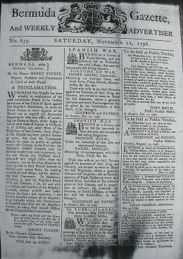 ermuda Gazette 12 November 1796 (wikipedia.org)