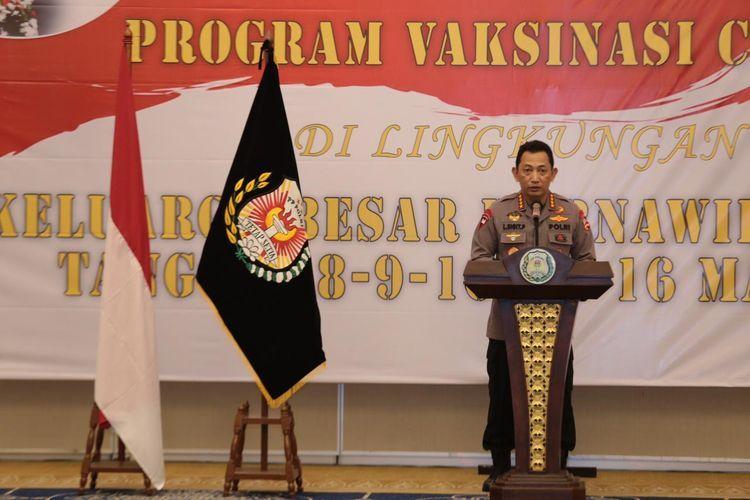 Kapolri Jenderal Listyo Sigit Prabowo di Gedung Tribrata, Mabes Polri, Jakarta Selatan. Senin 3/8/2021. (kompas.com)