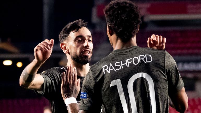 Bruno Fernandes dan Marcus Rashford dua pemain Manchester United pencetak gol ke gawang Granada (Foto Skysports)