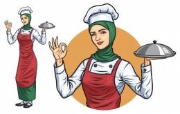 Muslimah memasak. Sumber : freepik.com