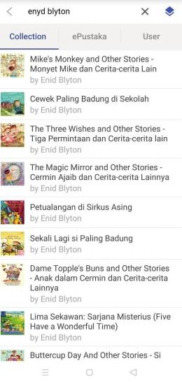 Buku-buku karya Enyd Blyton.   Tangkap layar dari aplikasi iPusnas