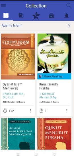 Buku-buki Islami yang bisa kita pinjam.   Tangkap layar dari aplikasi iPusnas