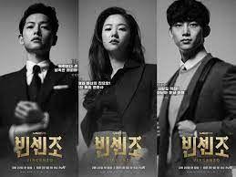 Vincenzo Cassano (Song Joong Ki), Hong Cha Young (Jeon Yeo Bin), Jang Han Seok (Taecyeon) dalam rilis poster resminya di Netflix