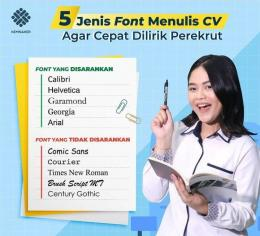 Rekomendasi font CV oleh Kemnaker (IG @kemnaker)