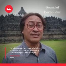 Deskripsi ; relief musik Borobudur disitulah tempat dirinya berangkat terlibat Sound of Borobudur I Sumber Foto : IG @purwacaraka.official