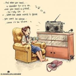 Ilustrasi mendengarkan lagu dari kaset. (Sumber foto : Fanpage Jaman Dulu Dalam Gambar)