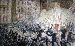 Ilustrasi protes buruh di Chicago tahun 1886 (Foto: Illinois Labour History Society)