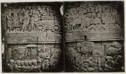 Deskripsi : relief-relief yang terpahat di dinding Borobudur I Sumber Foto : soundofborobudur.org