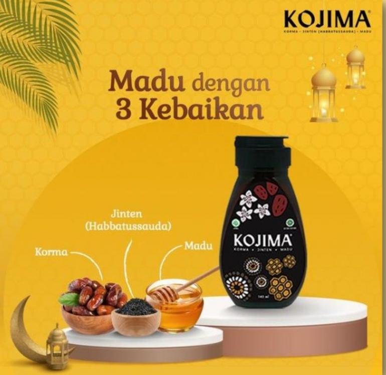 Ilustrasi KOJIMA, Madu dengan 3 kebaikan yaitu Korma, Jinten (Habbatussauda) dan Madu diambil dari PK KOJIMA -- Kompasiana.pptx.pdf