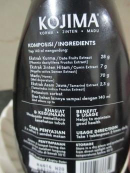 Korma yang terkandung dalam Kojima adalah ekstrak kurma baik basah dan kering sebesar 28 gram (foto dokumentasi pribadi).