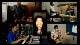 Kolaborasi band virtual perwakilan tenaga pendidik di SMP Marsudirini Bogor (tangkapan layar)