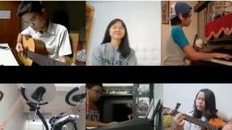 Kolaborasi perwakilan peserta ekstrakurikuler band virtual SMP Marsudirini Bogor (tangkapan layar)