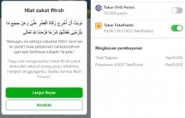 Niat zakat fitrah di aplikasi belanja online | dok. pribadi.