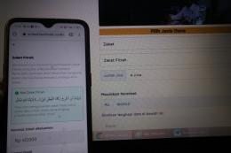 Zakat fitrah online.   Dokumentasi Pribadi