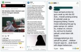 Kolase tangkapan layar Instagram @katakitaig, E100, dan kolom komentar Facebook