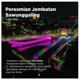 Foto pembanding: tampilan Jembatan Sawunggaling di waktu malam, diambil dari gedung TIJ (foto: @banggasurabaya)