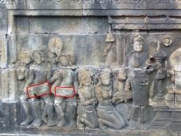 Alat musik gendang di relief Candi Borobudur (Dok. Pribadi)