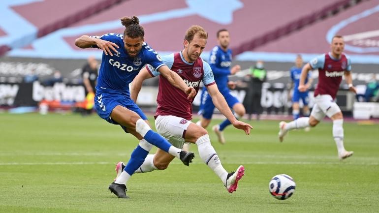 Dominic Calvert-Lewin pencetak gol tunggal untuk Everton ke gawang West Ham United (Foto Skysports)