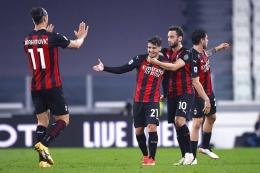 Pemain AC Milan merayakan gol ke gawang Juventus. (via sempremilan.com)