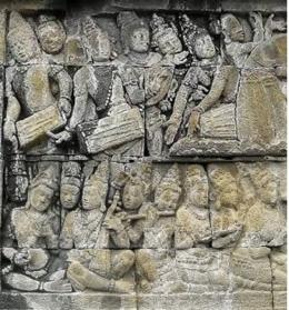 Relief pemain alat musik pukul, tiup dan berdawai (Sumber: Takaitu.ID)
