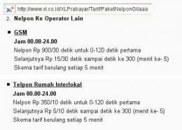 Tarif Telepon Salah Satu Provider Kartu. Sumber blog tarif telepon wordpress / tariftelpon.wordpress.com